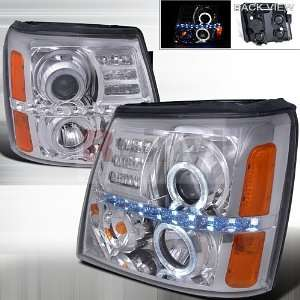 02 06 CADILLAC ESCALADE LED HALO PROJECTOR CHROME CLEAR