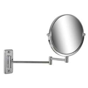 Geesa 1076 Wall Mounted Chrome Round 5x Magnifying Mirror with Double