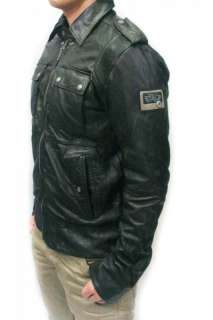 NWT DIESEL Brand Mens Black Biker LISARD Bomber Leather Jacket S M L