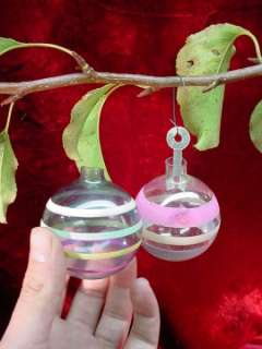 PAIR Vintage 1960s CHRISTMAS TREE ORNAMENTS Clear Glass STRIPED Ball
