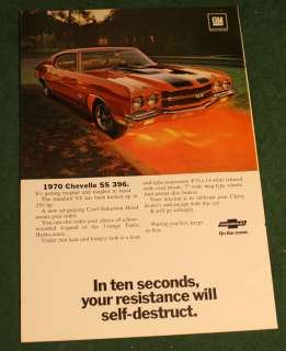 Vintage 1969 Ad 1970 Chevrolet Chevy Chevelle SS 396 Cowl Hood Nat Geo