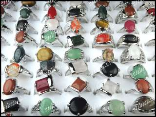 wholesale jewelry lots 6pcs Fashion Natural stone silver p rings mix