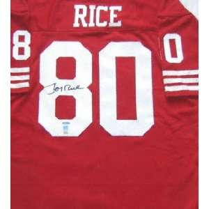 Jerry Rice Autographed Red Custom Throwback Jersey with