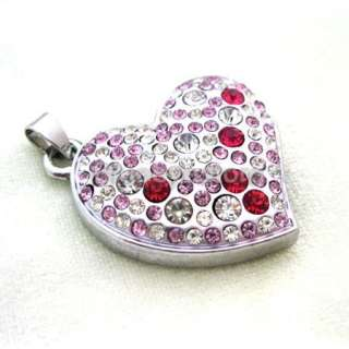 Crystal Heart Necklace Jewelry 4GB USB 2.0 Flash Memory Pen Drive Real