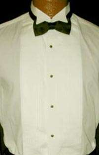 Off White Ivory Cream Wing Tip Collar Tuxedo Shirt
