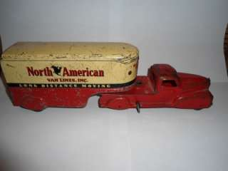 Tin Marx Toy Co. North American Van Lines Wind Up Truck Working