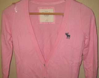 NWT Abercrombie & Fitch Womens Abigail Cardigan Sweater S/L Light Pink