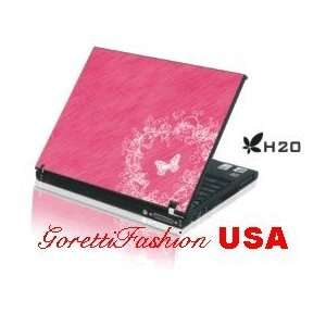 Laptop Notebook Skins Cover H20 Pink Butterfly Skin   2