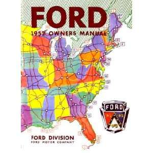 1952 FORD PASSENGER CAR Owners Manual User Guide Automotive