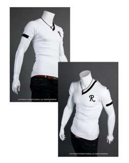 NWT Mens T Shirt Slim fit polo Tee Casual V NECKS Shirts Top R Letter
