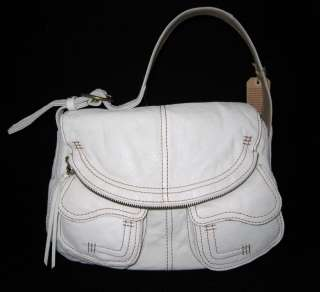 Lucky Brand Leather Stash Bag Purse Hobo Sac White New
