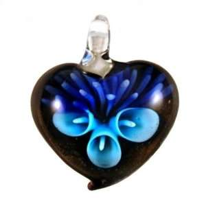 Murano Glass Aqua Blue Flower with Purple Heart Necklace
