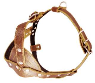 Pulling Leather Dog Harness 30 34 Padded Brown Large