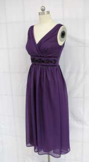 BL488 PURPLE CHIFFON BEADED COCKTAIL DRESS Sz S