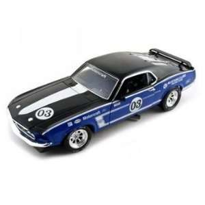 1969 Ford Mustang Boss 302 Diecast Car 1/24 Racer #3 Blue