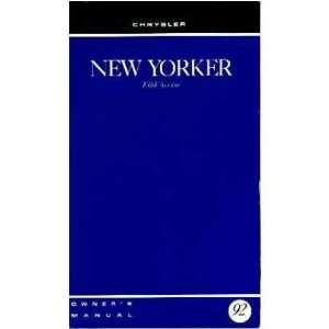 1992 CHRYSLER NEW YORKER FIFTH AVENUE Owners Manual Guide Automotive