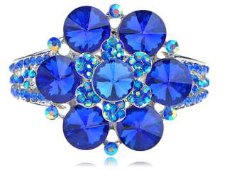 Cute Ocean Sapphire Blue Crystal Rhinestone Flower Fashion Bangle