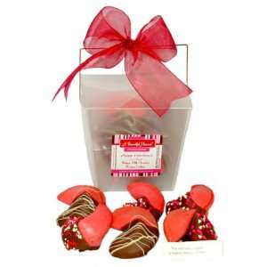 Belgian Milk Chocolate Dipped Valentines Fortune Cookies In White