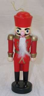 Vtg 80s Wooden Nutcracker Christmas Ornament Red Suit
