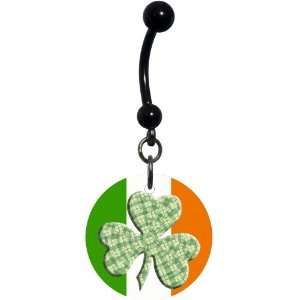 Ireland Green Plaid Shamrock Belly Ring Jewelry