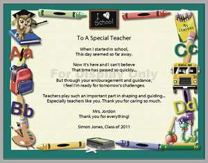 Personalized A Special Teacher Appreciation Poem Print
