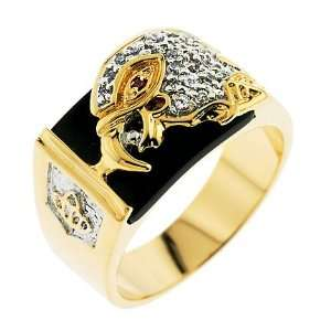 Eagle CZ Diamond Black Enamel Mens Ring Glitzs Jewelry