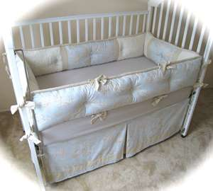 BLUE & BROWN CENTRAL PARK TOILE BABY CRIB BEDDING SET
