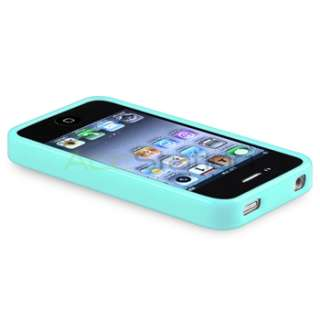 Bumper Blue Shinny TPU Rubber Cover Case+Anti Glare LCD Guard for