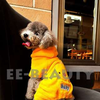 Coral Polar Fleece Chick Chicken Dog Pet Clothes Hoodie Coat Apparel