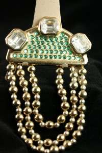 Costume Jewelry Art Deco Green Rhinestone CZ Brooch Pin