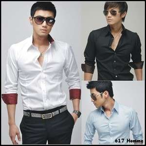 Fashion Casual Slim Fit Stylish Dress Shirts 4 Color 4 Size CD C25