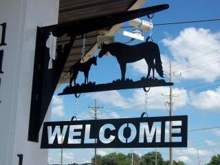 Country cowboy horse equestrian STEEL WELCOME SIGN