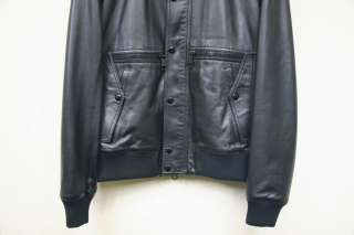 SS09 Dior Homme Black Leather Runway Bomber Jacket Blouson Sz 48 50