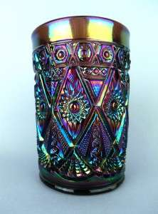 by IMPERIAL ~ ANTIQUE UNMARKED PURPLE CARNIVAL GLASS TUMBLER
