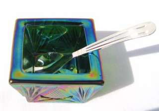 Green Carnival Glass Square Salt Dip with Silver Spoon