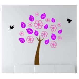 Colorful tree with birds decal    6 foot tall sticker