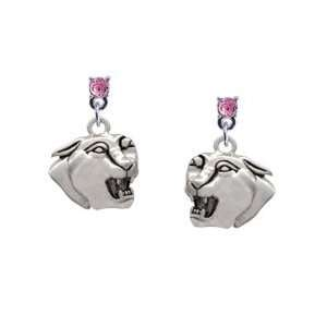 Small Panther   Mascot Light Pink Swarovski Post Charm Earrings (Left