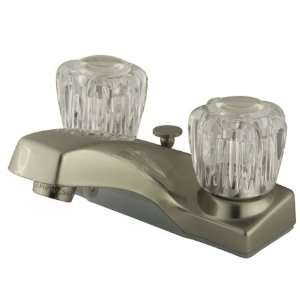 Twin Acrylic Handle 4 Centerset Faucet with Brass Pop Up, Satin Nick