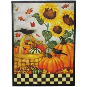 Sunflowers Birds Pumpkins Country Large Porch Flag 28 X