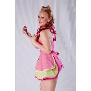 Bettie Page Apron   Hot Pink & Lime Green Too Cute To Cook