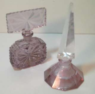 DECO LAVENDAR CUT CRYSTAL PERFUME BOTTLES & MERCURY ATOMIZER