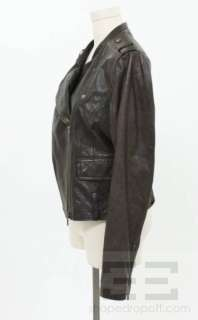 Vince Brown Leather Asymmetric Zip Motorcycle Jacket Size L