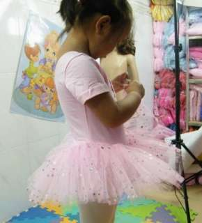 Freeshipping New Diamond Girls Pink Leotard Ballet Tutu Skirt Fairy