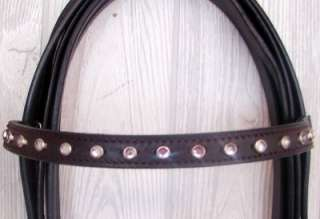 Headstall Rein BROWN Crystal Horse Western Tack RED DOT