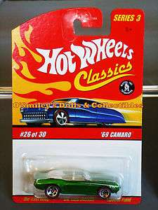 Hot Wheels CLASSICS Series 3 Redline SPECTRA GREEN 1969 CAMARO_L1684