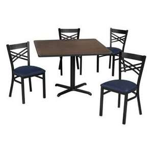36 Square Table & Criss Cross Back Chair Set, Figured