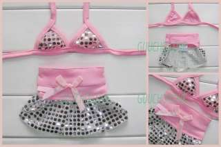 Pet Dog Clothes Bikini Dress Swimming Suit Bar Pink ★