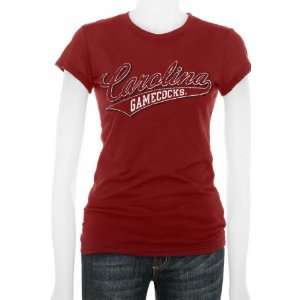 South Carolina Gamecocks Womens Cardinal Tail Sweep Cube T Shirt