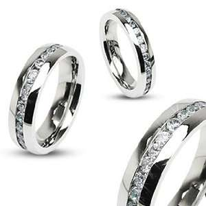 4mm 316L Stainless Steel Eternity Clear Gems Cz Comfort Fit Wedding