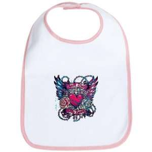 Baby Bib Petal Pink Look After My Heart Roses Chains and